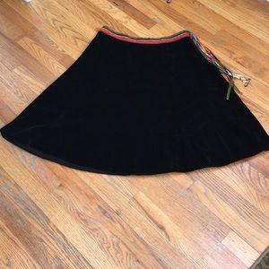 NWT Anthropologie Ipsa Velvet Fringe Skirt
